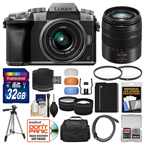 Panasonic Lumix DMC-G7 4K Wi-Fi Digital Camera & 14-42mm (Silver) with 45-150mm Lens + 32GB Card + Case + Battery + Tripod + Tele/Wide Lens Kit