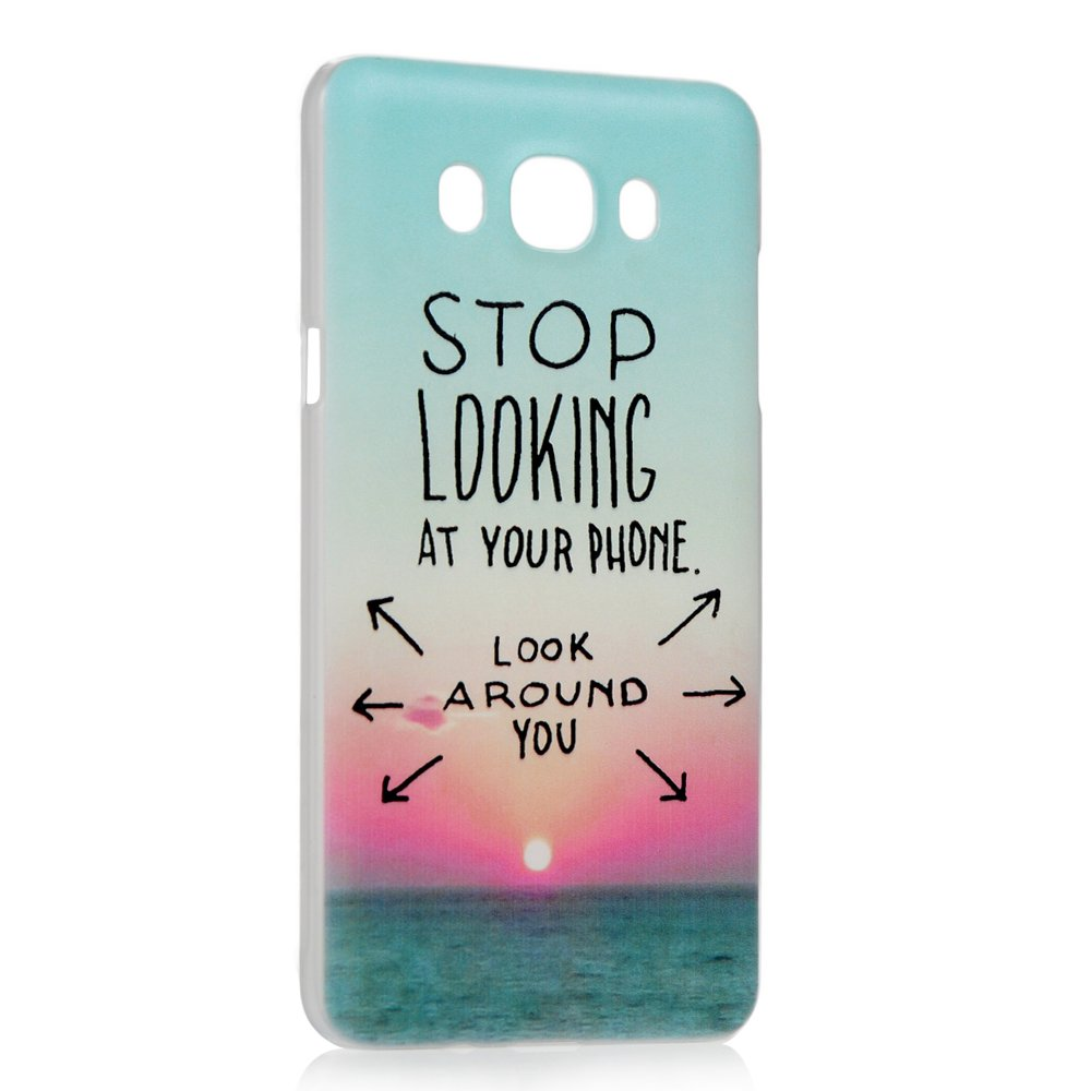 Lanveni Anti-Graffio Case Caso Rigida Plastica PC Ultra Sottile per Samsung Galaxy J7 mare campanula J7 2016 Custodia Cover 2016 3 pezzi - Modello faccia di pietra