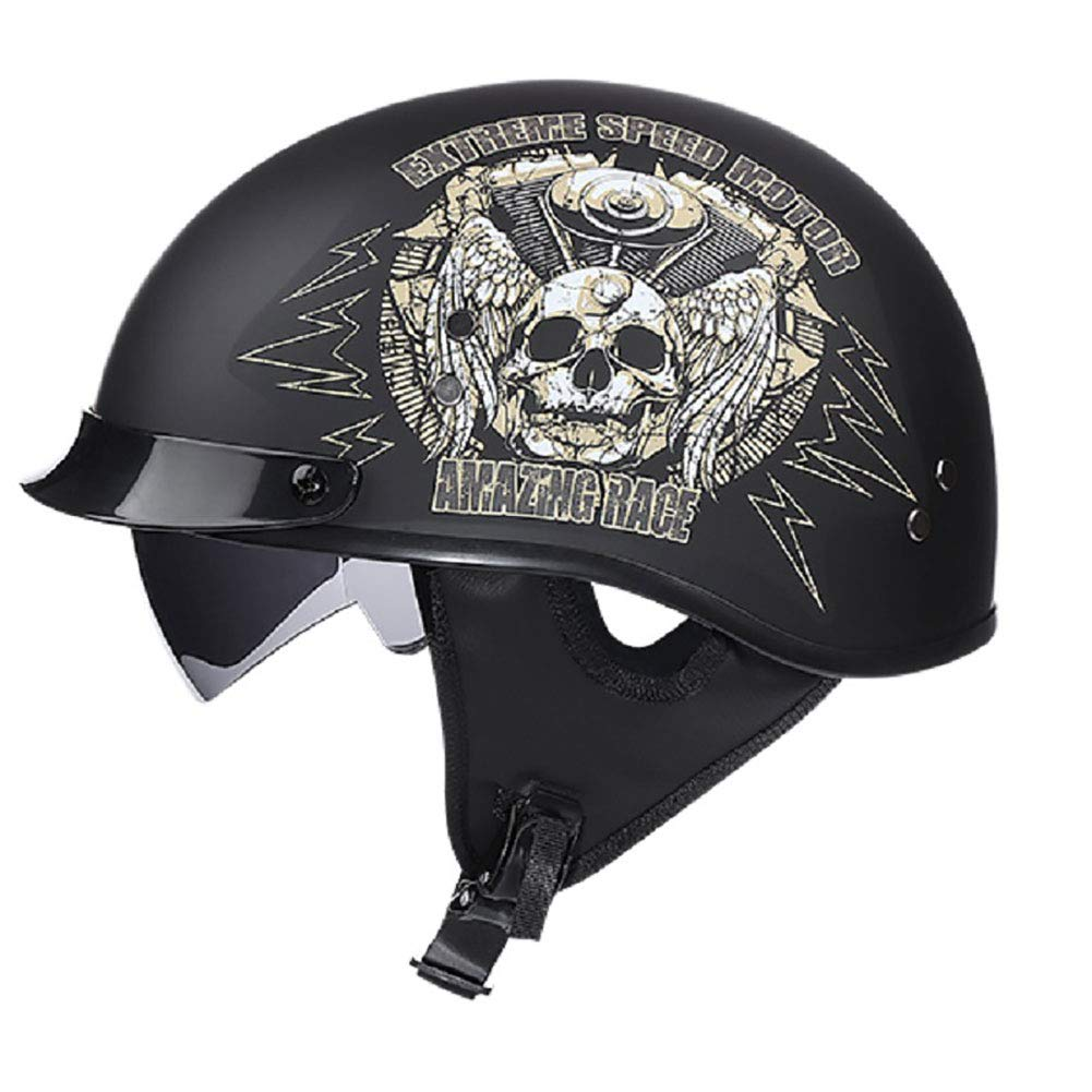 LWAJ Casque Moto Jet /· Demi Jet Retro Helmet Chopper Cruiser Scooter /· Dot Certifi/é Style R/étro Casque M 57-58cm
