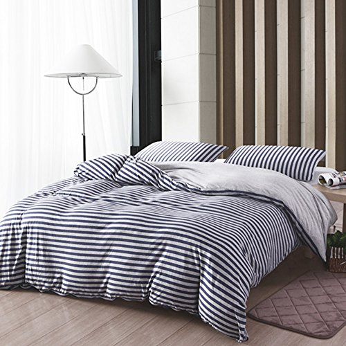 Striped Duvet Set (PURE ERA Heather Jersey Knit Cotton Bedding Sets Striped Duvet Cover and Pillow Shams Soft and Luxurious Blue Grey Full Queen)