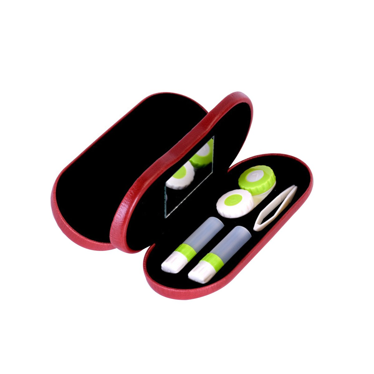 ROSENICE Portable 2-in-1 Eyeglass and Contact Lens Hard Case for Home Travel Kit (Red)