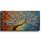 YaSheng Art -Hand-Painted Contemporary Art Oil Painting On Canvas Texture Palette Knife Tree Paintings Modern Home Interior Decor Abstract Art Colorful 3D Flowers Paintings Ready to Hang 24x48inch