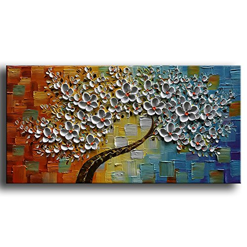 YaSheng Art -hand-painted Contemporary Art Oil Painting On Canvas Texture Palette Knife Tree Paintings Modern Home Interior Decor Abstract Art Colorful 3D Flowers Paintings Ready to hang 24x48inch - Home Interior Decor