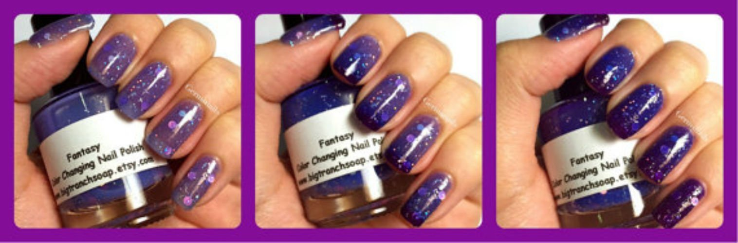 Color Changing Nail Polish - Mood Nail Polish - Stocking Stuffer for Teens, Women - FREE SHIPPING - Glitter Nail Lacquer - FANTASY - 0.5 oz Full Sized Bottle