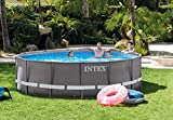 Intex 24ft X 12ft X 52in Ultra Frame Rectangular Pool Set with Sand Filter Pump & Saltwater System, Ladder, Ground Cloth, Pool Cover, Maintenance Kit & Volleyball