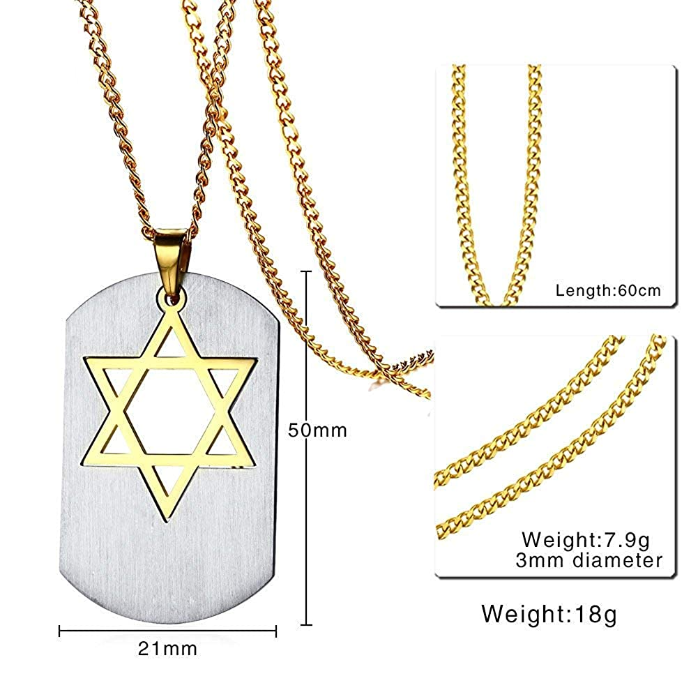 YABINI Stainless Steel Two-Tone Matching Jewish Star of David//Magen David and DogTag Pendant Necklace for Men