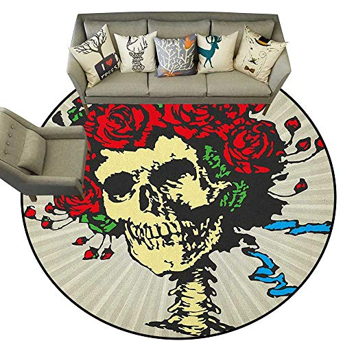 Rose,Low-Profile Mats Tattoo Art Style Graphic Skull in Red Flowers Crown Halloween Composition Print D78 Non-Slip Modern Carpet]()