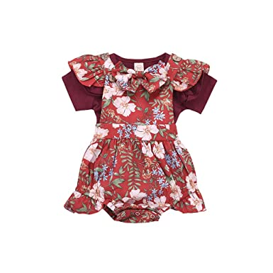 d24fbe4f3b6b Newborn Baby Girls Clothes Cute Flutter Sleeve Top + Flower Print Buttons Ruffles  Romper Bodysuit with