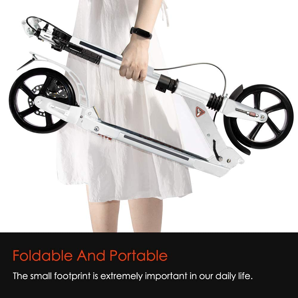 Height-Adjustable Handlebar Scooters for Adults Qucik Folding Big Wheels Scooters for Kids 8 Years Old Up with Bell Tenboom Adults Scooters Dual Smart Brake System