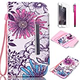 Note 4 Case, JCmax New Flip [Detachable] Synthetic Leather Wallet Case Cover With Card Holder, Cash Pocket and Wrist Strap For Samsung Galaxy Note 4 [Chrysanthemum]