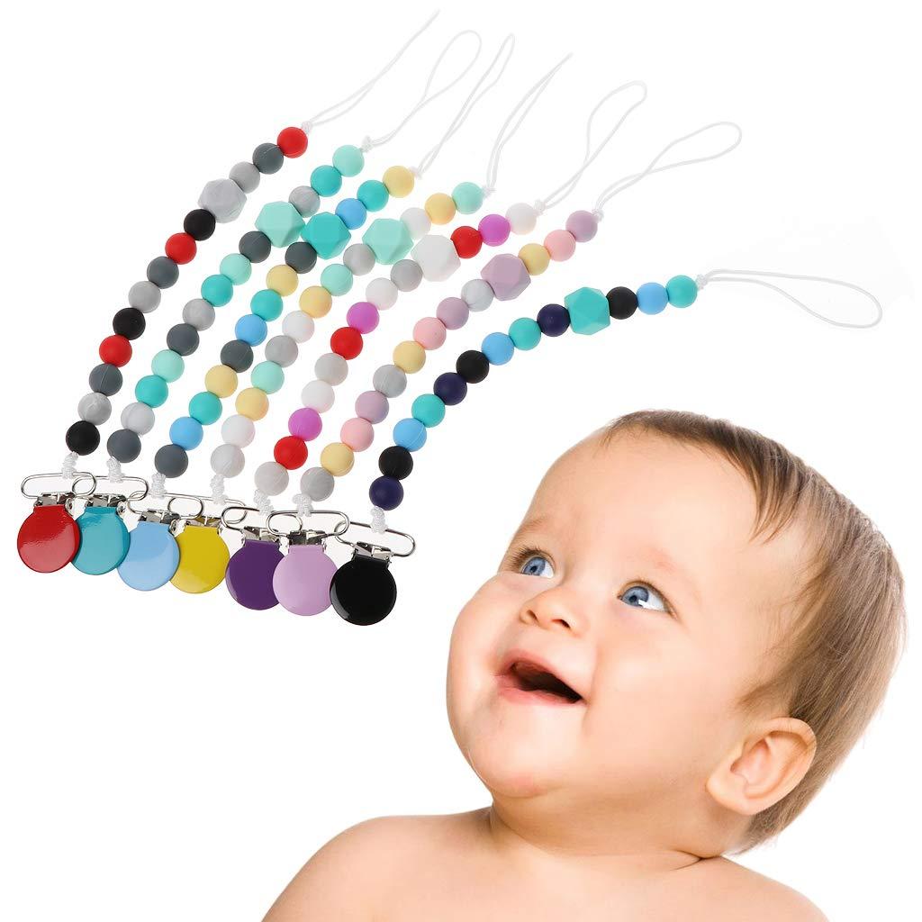Jiamins Attache Sucettes Bebe Silicone Attache tetine Porte sucette Clip metal durable,Jouet de b/éb/é Baby Pacifiern Chain Clip(Rouge)