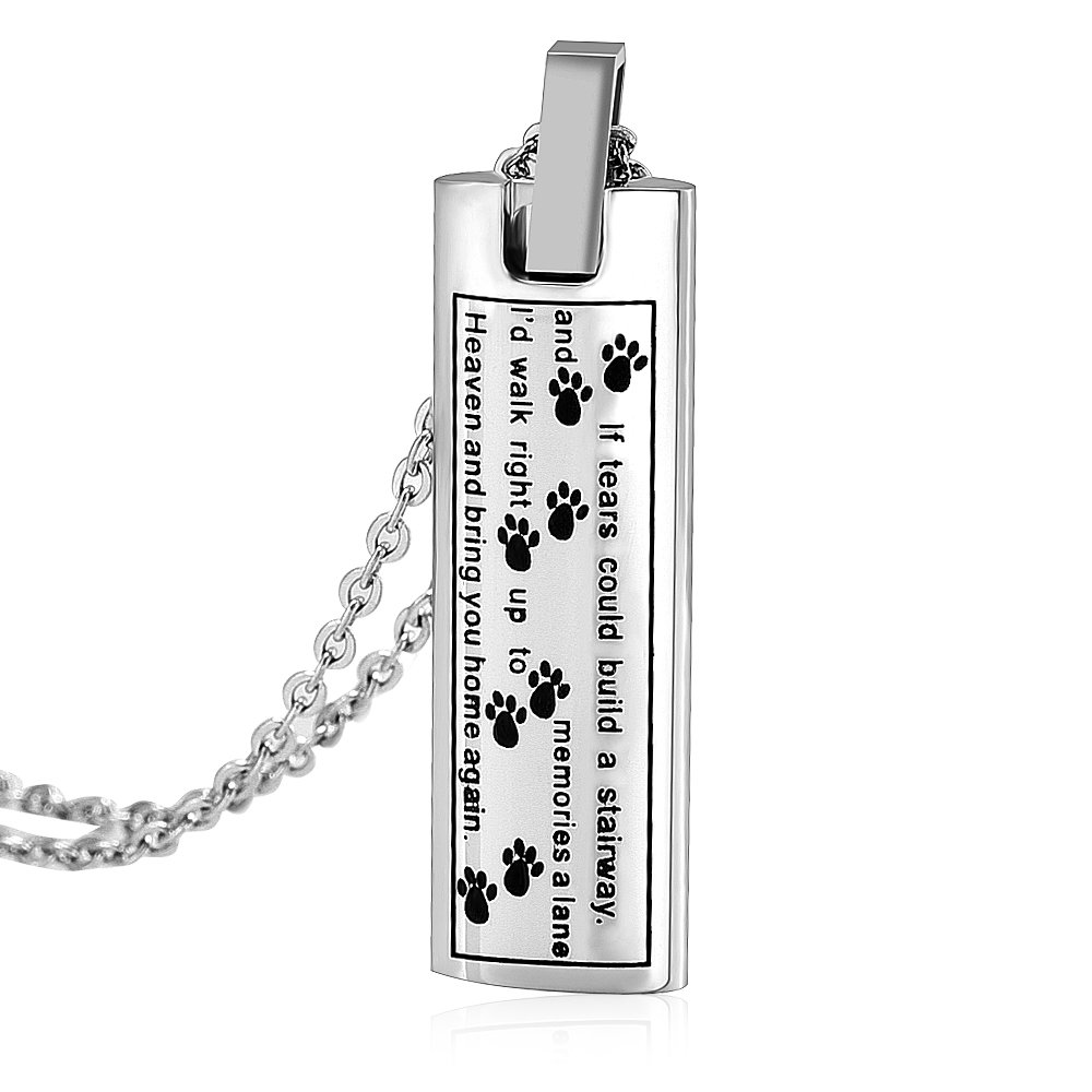 SS9137 If Tears Could Build a Stairway Pet Urn Pendant Necklace Dog/Cat Funeral Ashes Keepsake Casket (silver)