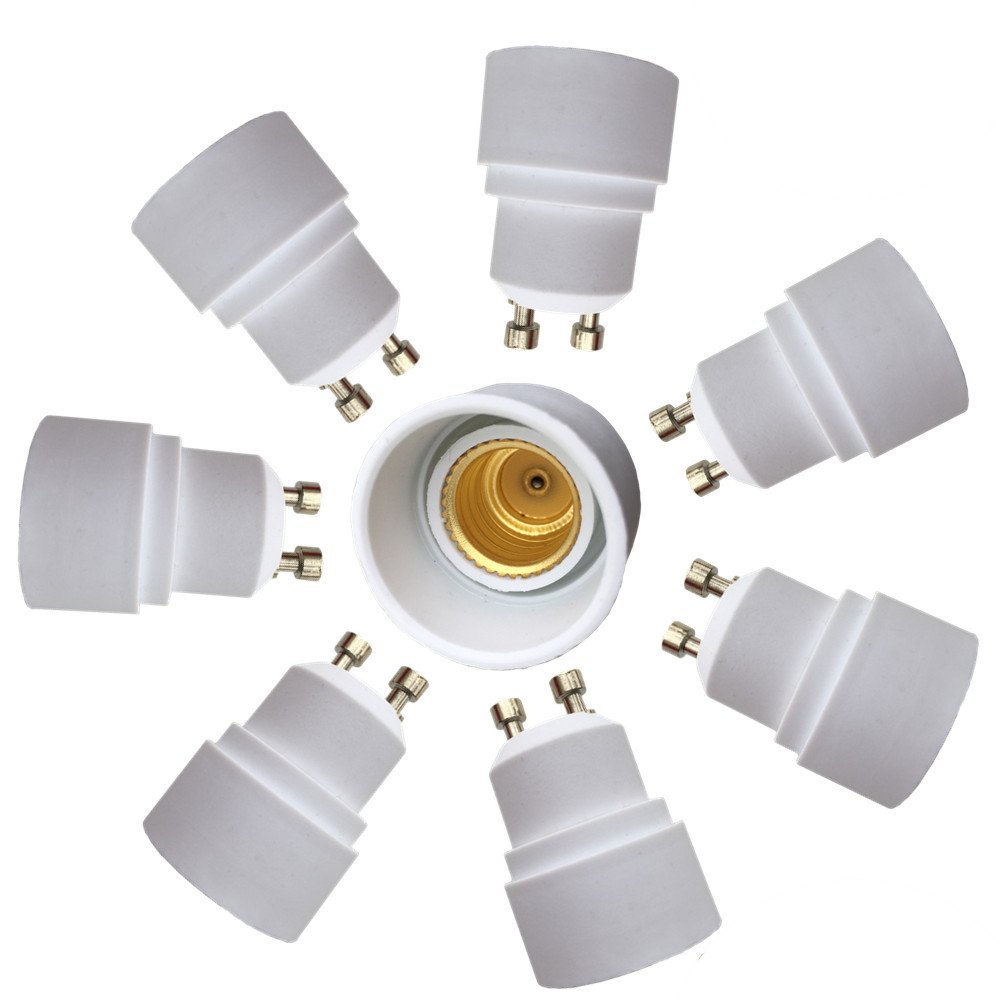 Eleidgs 8 PCS GU10 vers E14 Adaptateur de Douille , Ampoule LED Base Douille GU10 à E14 Lamp Holder Converter DZYDZR DE086
