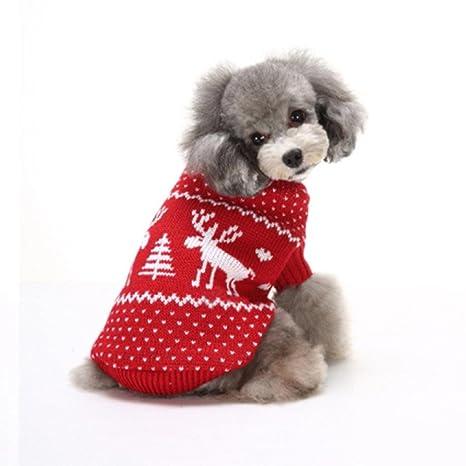 BBsmile Navidad-Ropa para Mascotas Ropa Perro pequeño Moda Ropa cómoda para Mascotas Vestido del Festival Suéter Prendas de Punto Ropa Perrito ...