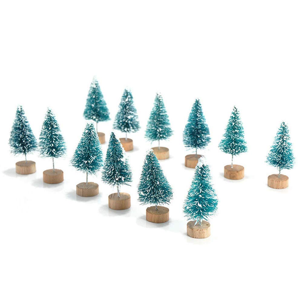 KINJOHI 12 PCS Mini Christmas Tree Assorted Size Mini Sisal Trees Small Christmas Tree Festival Home Decor