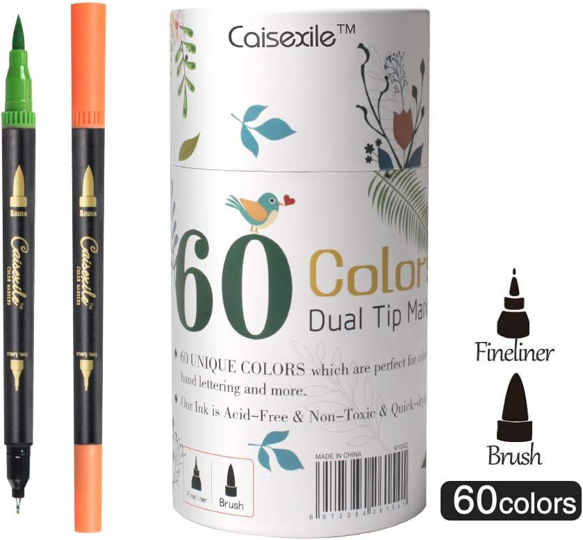 Dual Tip Brush Pens Fineliners Art Markers 60 Colors Watercolor Marker and Highlighters For Adult Kids Coloring Books Drawing Sketching Bullet Journal Calligraphy Art Projects