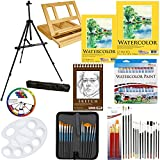 69 Piece Deluxe Watercolor Painting Set with Aluminum Floor Easel