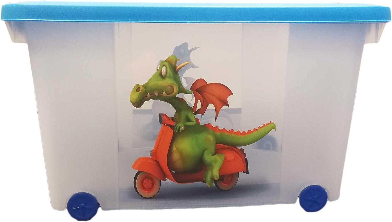 Deuba Caja de almacenamiento infantil para juguetes ba/úl organizador con tapa ruedas 50L Dise/ño hada 60 x 40 x 43cm