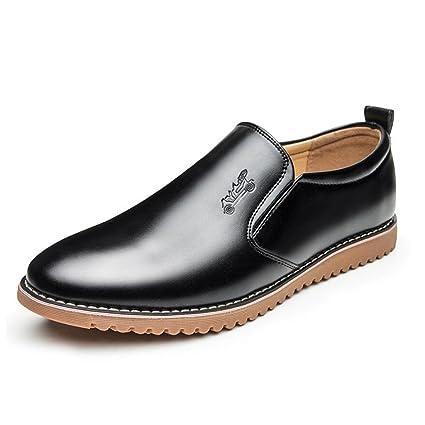 Zapatos de Cuero Casuales para Hombres 2018 Four Seasons Mocasines y Slip-Ons cómodos Mens