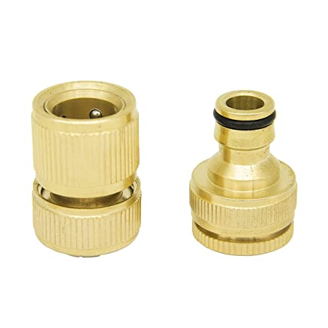 YINUOWEI Quick Connect Brass Faucet Adapter Nipple U0026 Hose Fitting Set For  Washing Machine, Household Garden Hose ...
