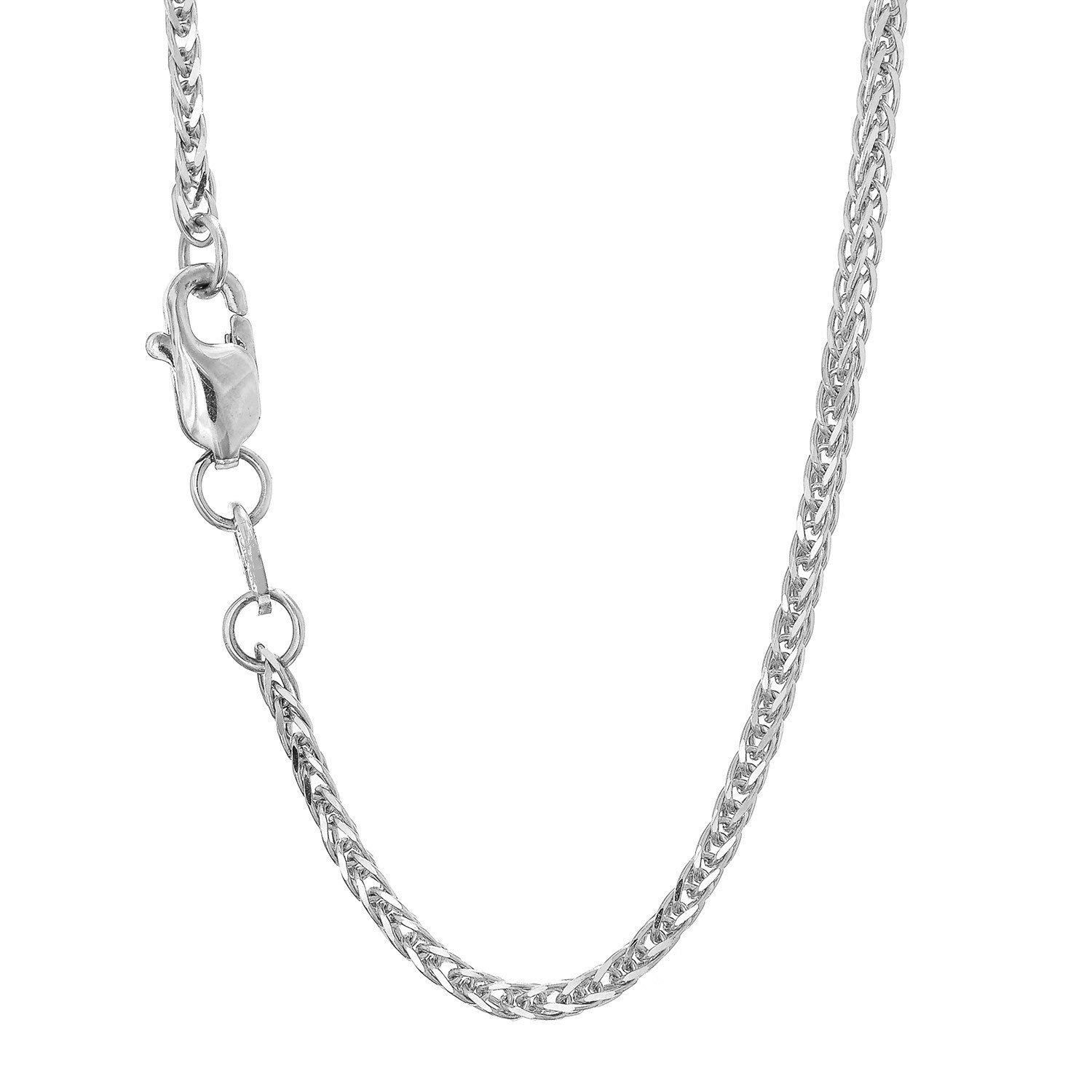 14K Yellow or White Gold 1.80mm Shiny Square Wheat Chain Necklace for Pendants and Charms with Lobster-Claw Clasp (16'' 18'' or 20 inch)