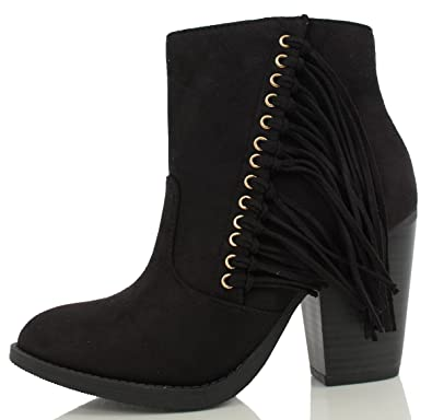 3a25611a5dbf SODA Women s Dimple Faux Suede Fringe Cowboy Stacked Heel Ankle Boot (Black