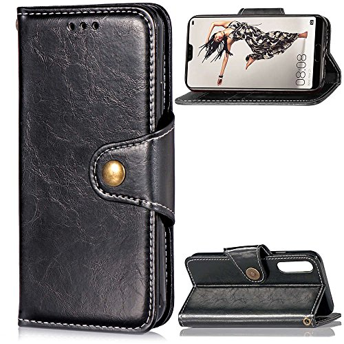 Codream Huawei P20 Wallet Leather Case with Protective Durable Backcover Shell Folio flip Cell Phone Cover Bag with Card Slots,Cash Pocket,Black