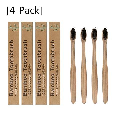 Set de 4 cepillos de dientes madera de Bambú, vegano, biológico, biodegradable,