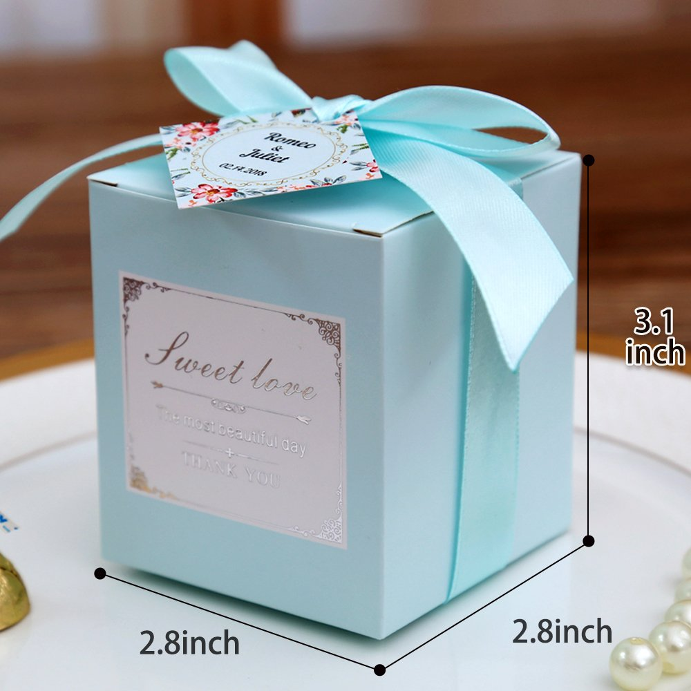 Wedding Gift Bags Chocolate Candy and Gift Boxes Bridal Shower Party Paper Gift Box Doris Home 50 pcs 300GSM 3.2X2.4X6.4 inch White Birthday Wedding Party Favor