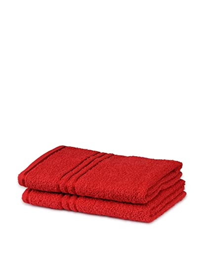 Trident Everyday Solid 2 Piece 380 GSM Cotton Hand Towel Set - Tangy Tomato