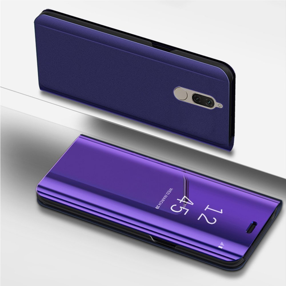 Herbests Compatible with Huawei Mate 10 Lite Case Luxury Clear View Standing Mirror Flip PC Cover Folio Protective Makeup Cover Electroplate Plating Stand Full Body Case,Purple