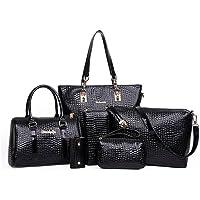 Mei&ge Crocodile Skin Pattern Glossy Finish PU/Synthetic Leather Handbags for Women - Set of 6