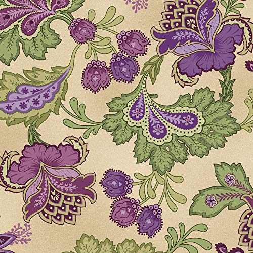 Elegant Jacobean Floral, Tan Background, Aubergine, Debbie Beaves, Maywood Studio, MAS9155-T, by The Yard