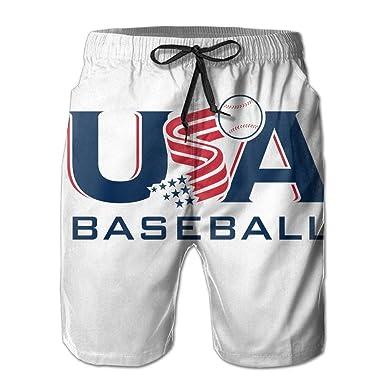 8ceff67fd5 Men's Swim Trunks Usa Flag Baseball Quickly-Dry Beach Shorts | Amazon.com
