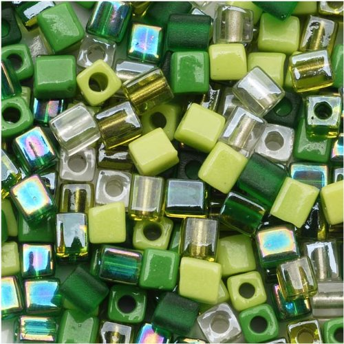 - Miyuki 4mm Glass Cube Bead Mix Ever Green 10 Grams