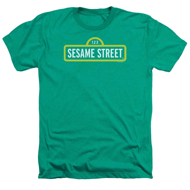Sesame Street Classic TV Show Original Logo Green Adult Heather T-Shirt Tee