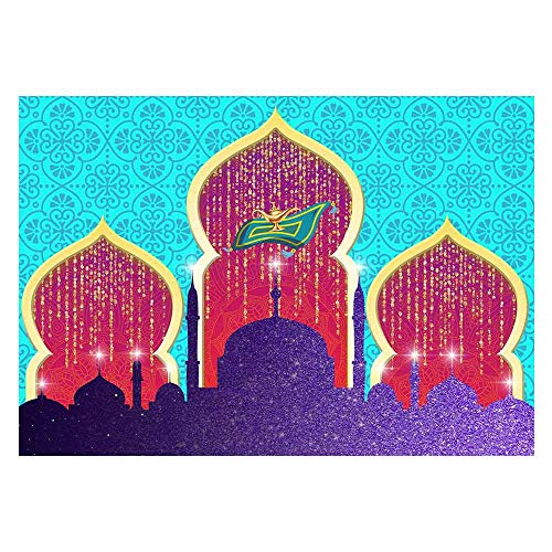 Funnytree 7x5ft Magic Genie Theme Party Backdrop Arabian Nights Lamp Golden Glitter Photography Background Moroccan Princess Girl Baby Shower Birthday Cake Table Decoration Photo Booth Banner
