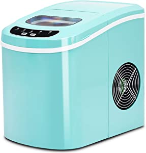 COSTWAY Ice Maker for Countertop, 26LBS/24H Portable & Compact Ice Maker Machine, Ice Cubes Ready in 6 Mins, Electric High Efficiency Express Clear Operation Control Panel with Ice Scoop (Green)