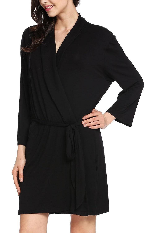 ADOME Kimono Femme Peignoir de Bain Coton Manches Longues avec Ceinture S- XXL 4ebb94d4d11