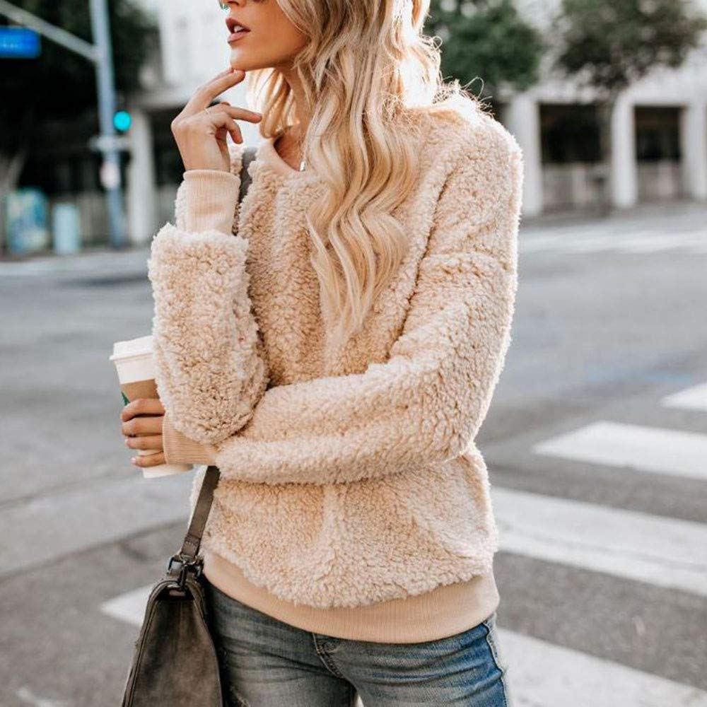 Amazon.com: AOJIAN Women Jacket Long Sleeve Outwear Fuzzy Solid Color Sweatshirt Coat Pullover: Clothing