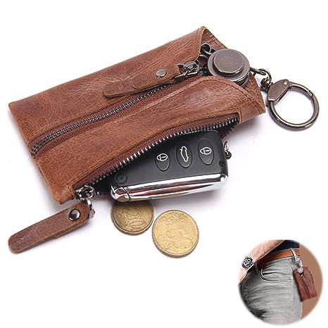 Amazon.com: EIGIIS - Funda de piel para llaves de coche, con ...