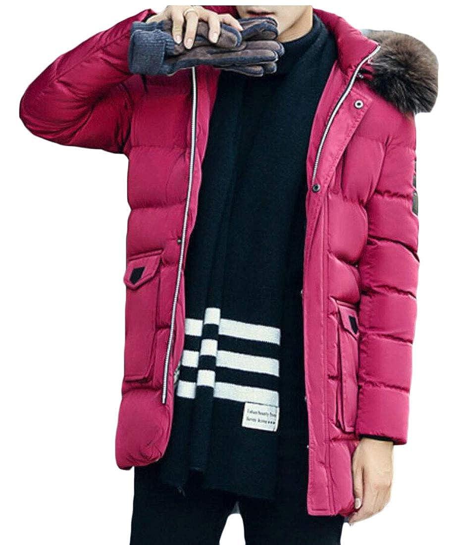 Gocgt Mens Winter Jackets Hooded Faux Fur Winter Warm Coats Outwear