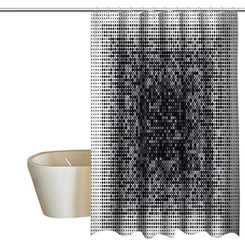 Glass Techart - Suchashome Modern Art Home Decor Punch-Free Shower Curtain Digital Futuristic Pixel Tech-Art with Dots Spots Artificial Pattern Waterproof/Water-Repellent & Antibacterial 108