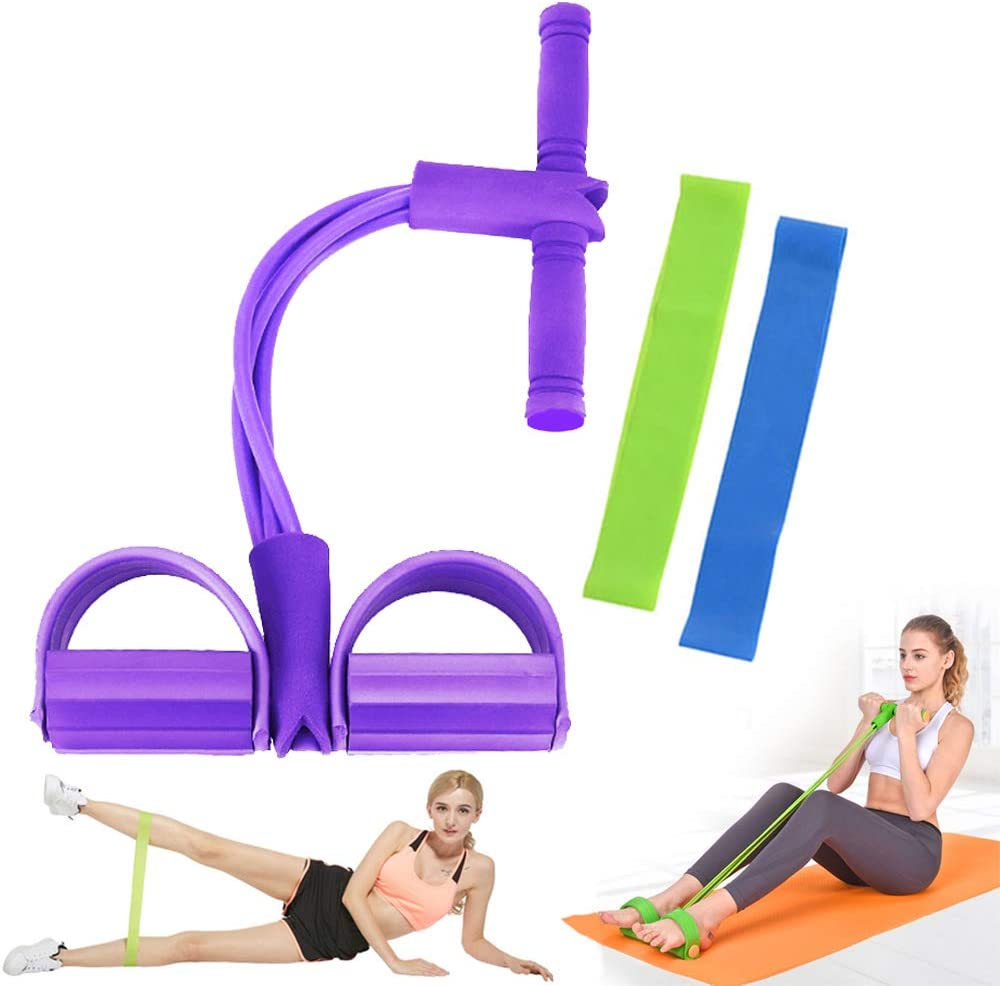 Vamvie Pedal Resistance Band Home Gym Sit-up Bodybuilding Expander Elastic Pull Rope Fitness Equipment for Abdomen,Waist,Arm,Yoga Stretching Slimming Training
