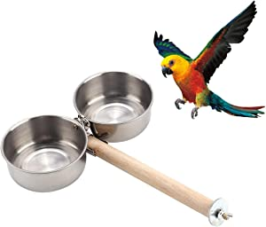 Bird Wood Stand Perch with Stainless Steel Food Water Feeding Bowl for Parrot Parakeet Cockatiel Cage Accessories (B: Perch with 2 Feeder Bowls)