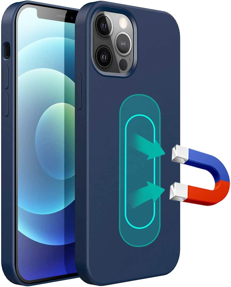 ESTPEAK Liquid Silicone Magnetic Case Compatible with iPhone X/Xs,[Invisible Built-in Metal Plate] Support Magnetic Car Mount, 360 Protective Cover Compatible with iPhone X/Xs 5.8''