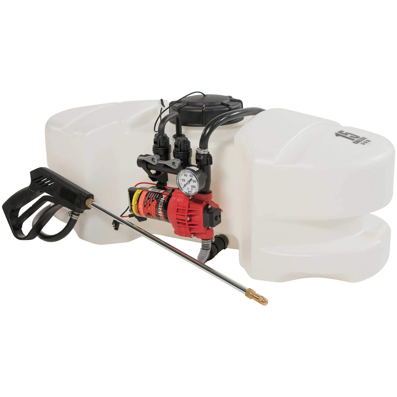15 Gallon Spot Sprayer with a 12 Volt, 2 1 GPM Pump and Pressure Gauge