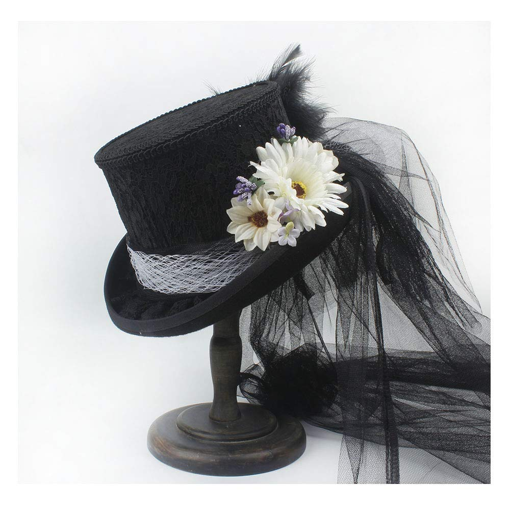 LL Women's Victorian Gothic Steampunk Wedding Top Hat Off White Ivory Hat, Rhinestone Gala Hat, Wedding Top Hat,Tea Party (Color : Black, Size : 55CM)