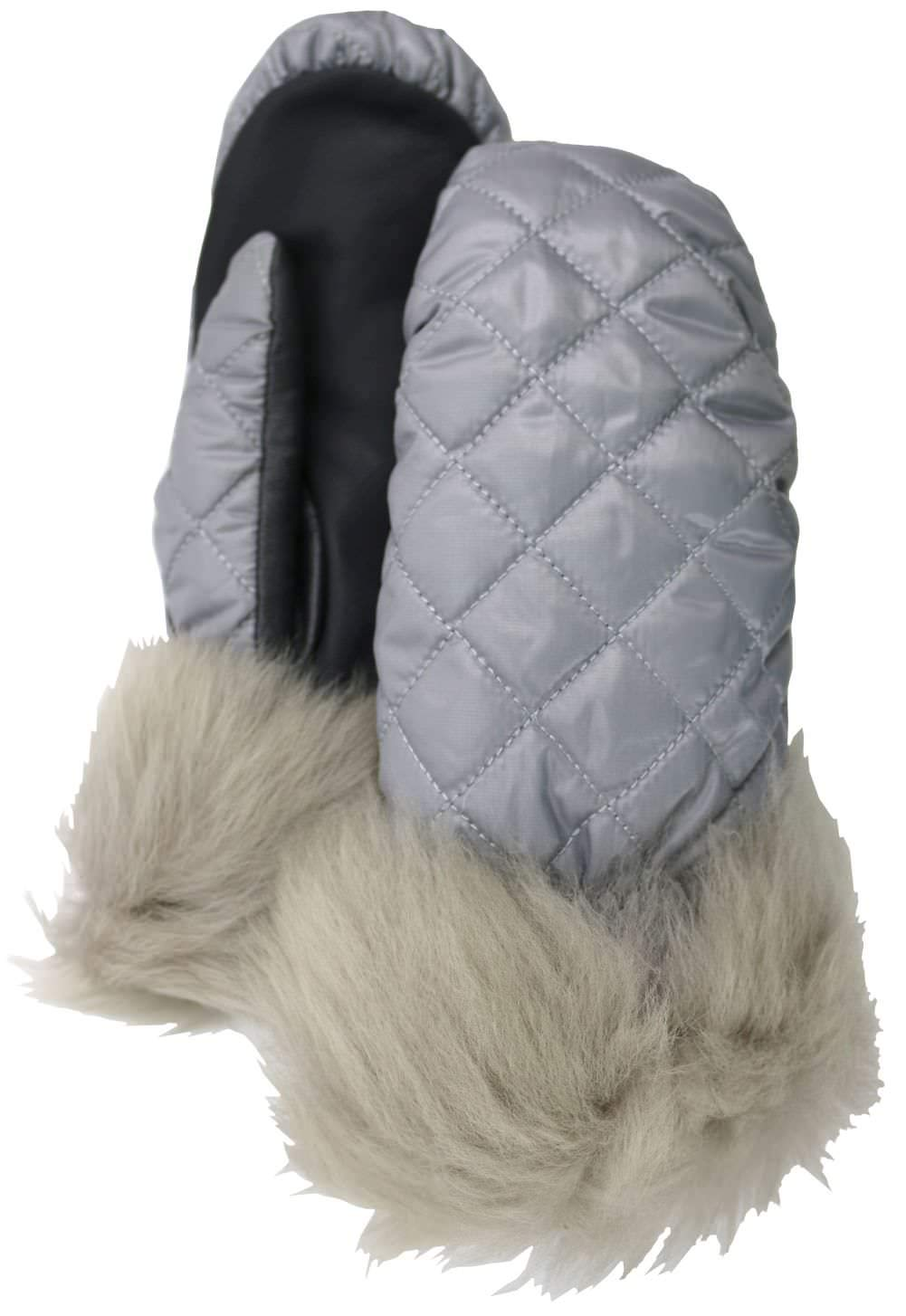 UGG Womens Quilted All Weather Mitten, Silver, Size Large/X-Large