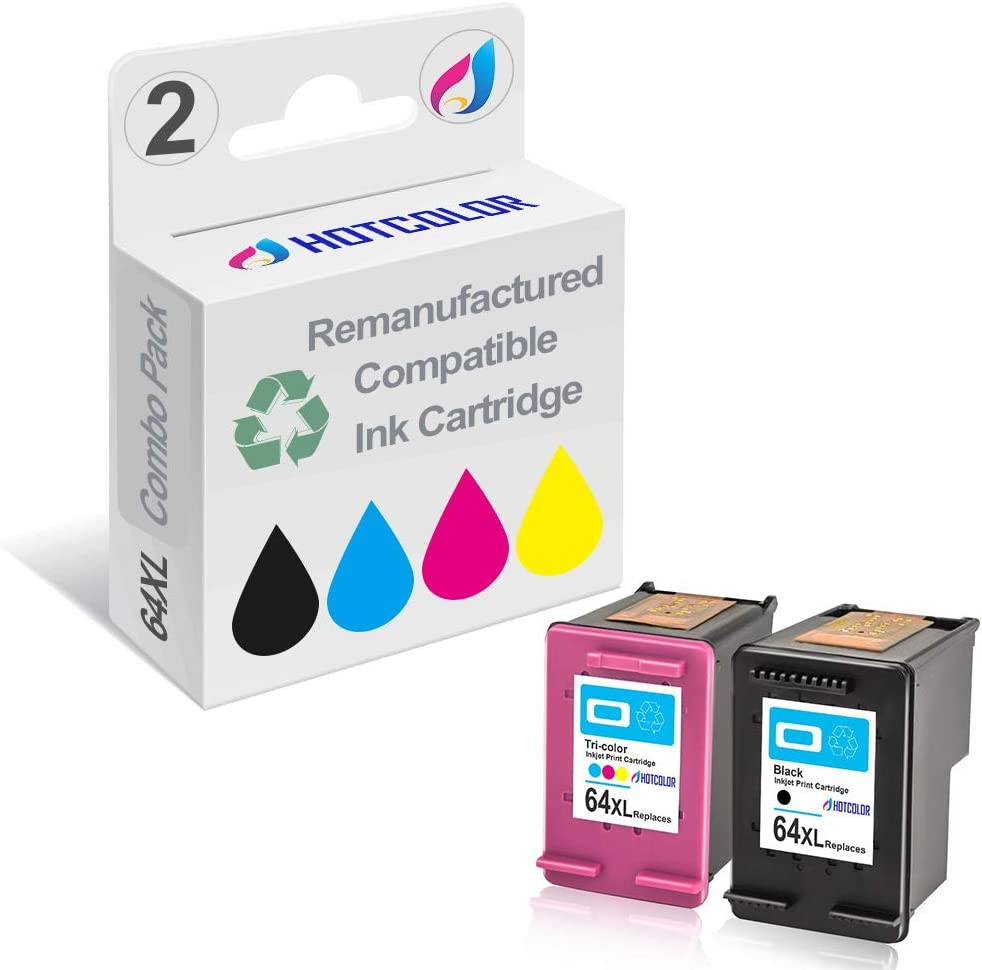 HOTCOLOR Remanufactured Ink Cartridge Replacement for HP 64XL Black Tri-Color High Yield Ink Cartridge N9J92AN N9J91AN,Work with Envy Photo 6255 7155 7855 Printer (Black Color,2-Pack)